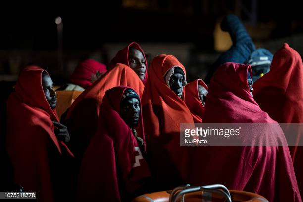 Rescued migrants onboard the Spanish Mariritime vessel at the Malaga harbour on 22 December 2018 in Malaga Spain 120 migrants were recued from the...