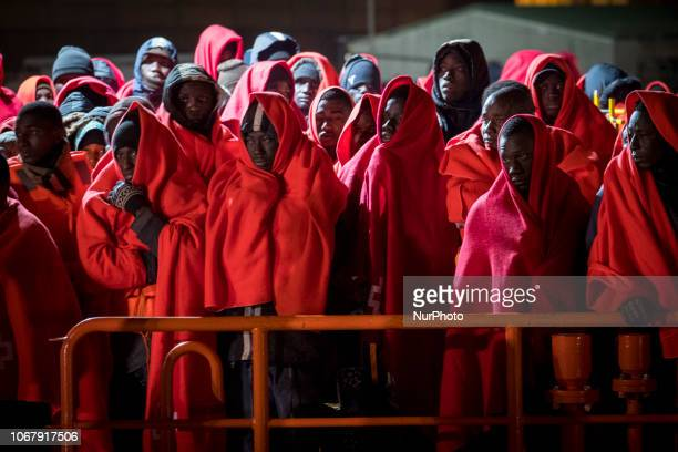 Rescued migrants onboard the Spanish vessel at the Malaga harbour on November 28 Malaga