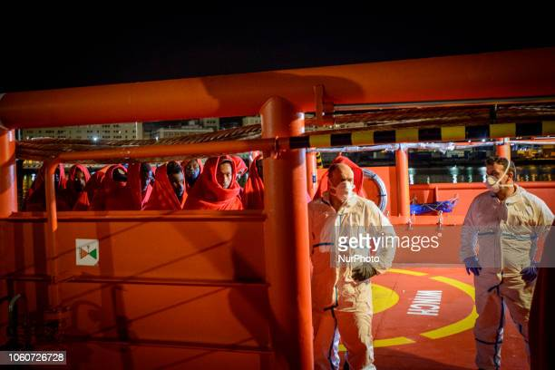 Rescued migrants onboard the Spanish vessel at the Malaga's port On 11 November 2018 in Malaga Spain The Maritime Spanish Vessel SAR Mastelero...