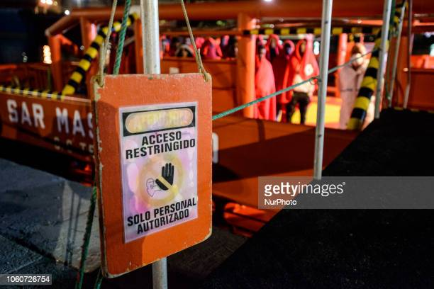 Rescued migrants onboard the Spanish vessel at the Malaga's port Malaga The Maritime Spanish Vessel SAR Mastelero rescued three dinghies with a total...
