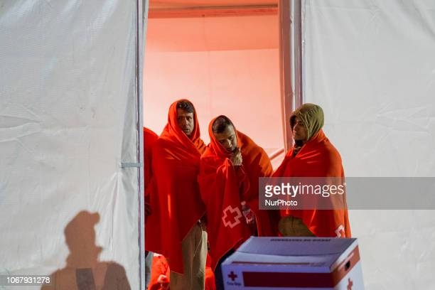 Rescued migrants waiting inside of the Red cross tent to be attended by the team inside of the brand new Care units on November 28 Malaga