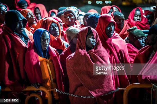 Rescued migrants waiting on board the vessel to be attended by the Rec cross team Malaga The Spaniard Maritime vessel rescued in the Mediterranean...