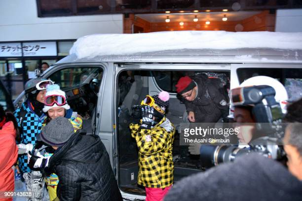 Rescued tourists are seen on January 23 2018 in Kusatsu Funma Japan KusatsuShirane a 2160meter volcano erupted in the morning on January 23 2018...