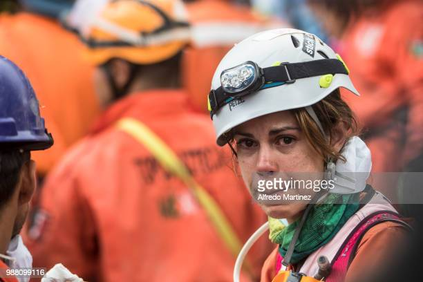 A rescuer looks on after the magnitude 71 earthquake that jolted central Mexico damaging buildings knocking out power and causing alarm throughout...