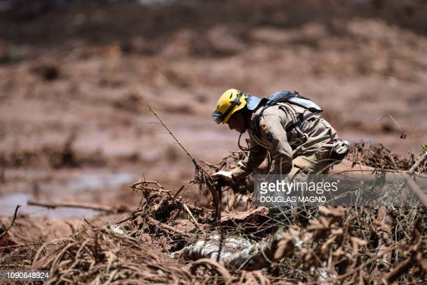 A rescuer searches for victims of Friday's dam collapse near the town of Brumadinho state of Minas Gerais southeastern Brazil on January 28 2019 The...