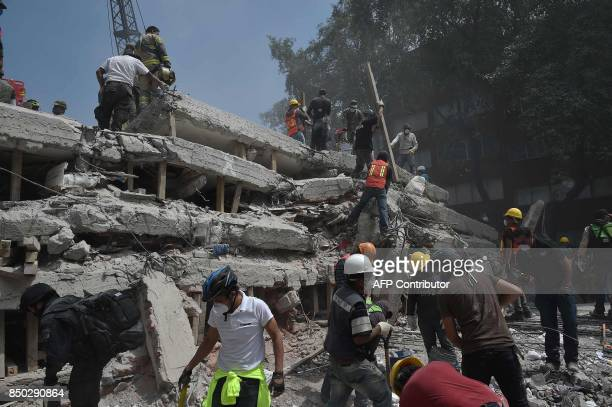 TOPSHOT Rescuers and volunteers search for survivors amid the rubble and debris of a multistory building flattened by a 71magnitude quake on the eve...