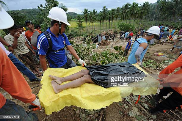 Rescuers carry the dead body of a 21yearold woman retrieved from a mountain slope after it collapsed at the height of the earthquake in the village...
