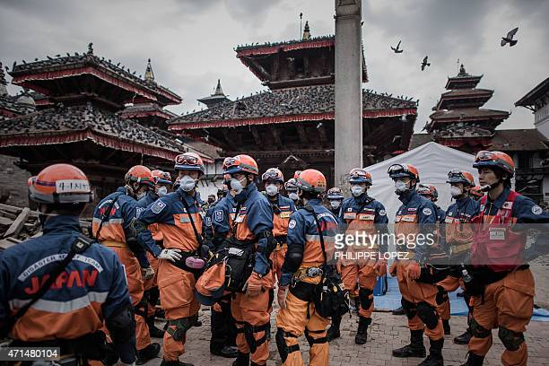 Rescuers from Japan are seen in the historical centre of Kathmandu on April 29 following a 78 magnitude earthquake which struck the Himalayan nation...