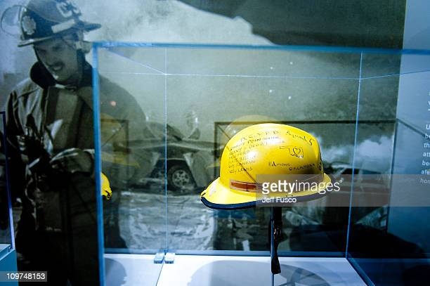 A rescuers hard hat from the Oklahoma City Bombing on display at the Spies Traitors Saboteurs Fear Freedom In America exhibition being held at the...