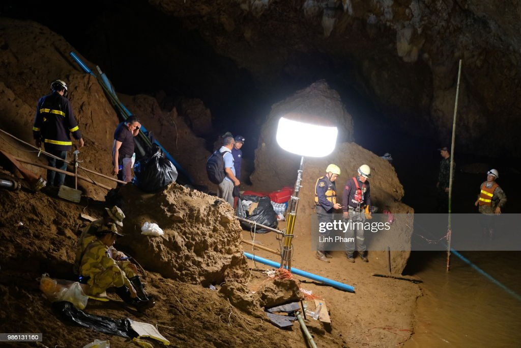 Thailand Cave Rescue For Missing Soccer Team : News Photo