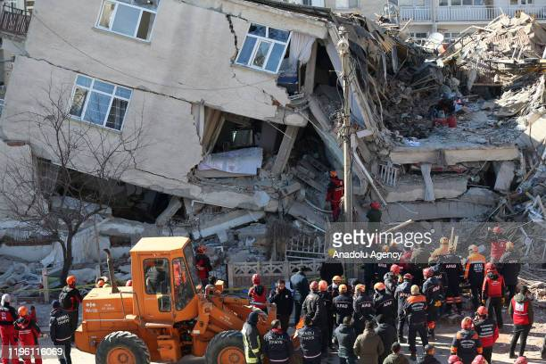Rescuers search quake rubble in Sursuru neighborhood for survivors after a 68magnitude earthquake jolted eastern Turkish province of Elazig on...
