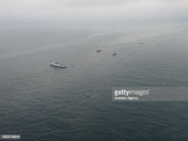 Rescuers work at site of the Tu154 plane crash near Sochi Russia on December 25 2016 According to Russian Ministry of Emergency Situations...