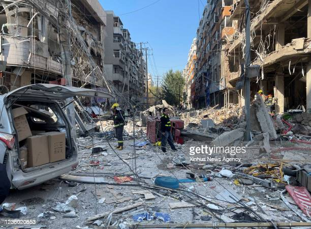 Rescuers work at the explosion site in Shenyang, capital of northeast China's Liaoning Province, Oct. 21, 2021. Three people were killed and more...