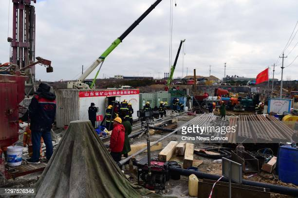 Rescuers work at the explosion site of a gold mine on January 20, 2021 in Qixia, Shandong Province of China. A life-saving passage into a collapsed...