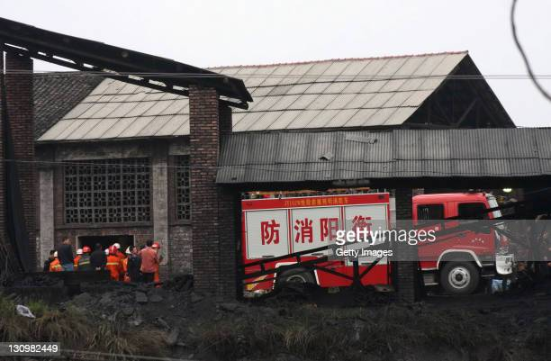 Rescuers work at Xialiuchong Coal Mine on Ocotber 30, 2011 in Hengyang, China. 29 miners were killed and 6 were saved after a gas explosion in...
