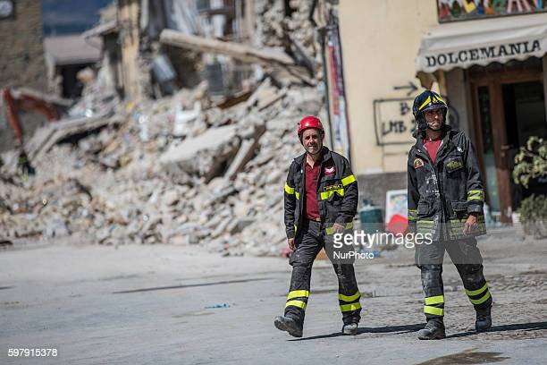 Rescuers workers in Amatrice hit by earthquake on August 30, 2016 in Amatrice, Italy. Italy has declared a state of emergency in the regions worst...