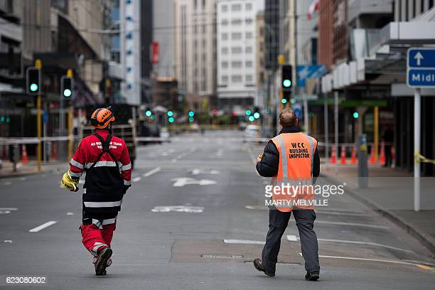 Rescure workers inspect buildings in Wellington after a 78 earthquake struck the South Island on November 14th 2016 At least two people were killed...