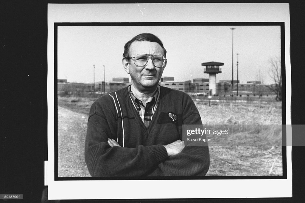 Research chemist/author Lionel Dahmer, father of confessed serial killer Jeffrey Dahmer, standing outside of Columbia Correctional Institute where his son is imprisoned.