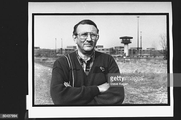 Research chemist/author Lionel Dahmer father of confessed serial killer Jeffrey Dahmer standing outside of Columbia Correctional Institute where his...