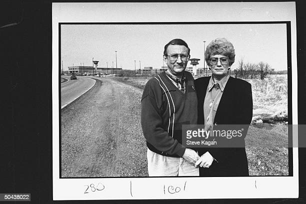 Research chemist/author Lionel Dahmer father of confessed serial killer Jeffrey Dahmer w wife Shari standing outside of Columbia Correctional...