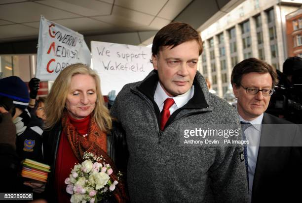 MMR research doctor Andrew Wakefield and wife Carmen Wakefield leave the GMC after making a statement London