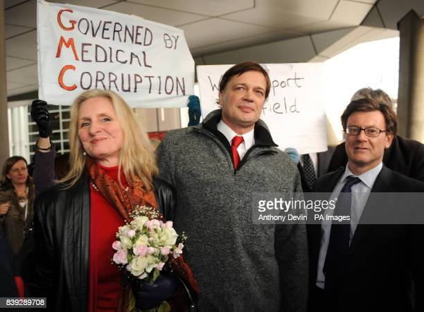MMR research doctor Andrew Wakefield with wife Carmen Wakefield as he makes a statement at the General Medical Council headquarters in London