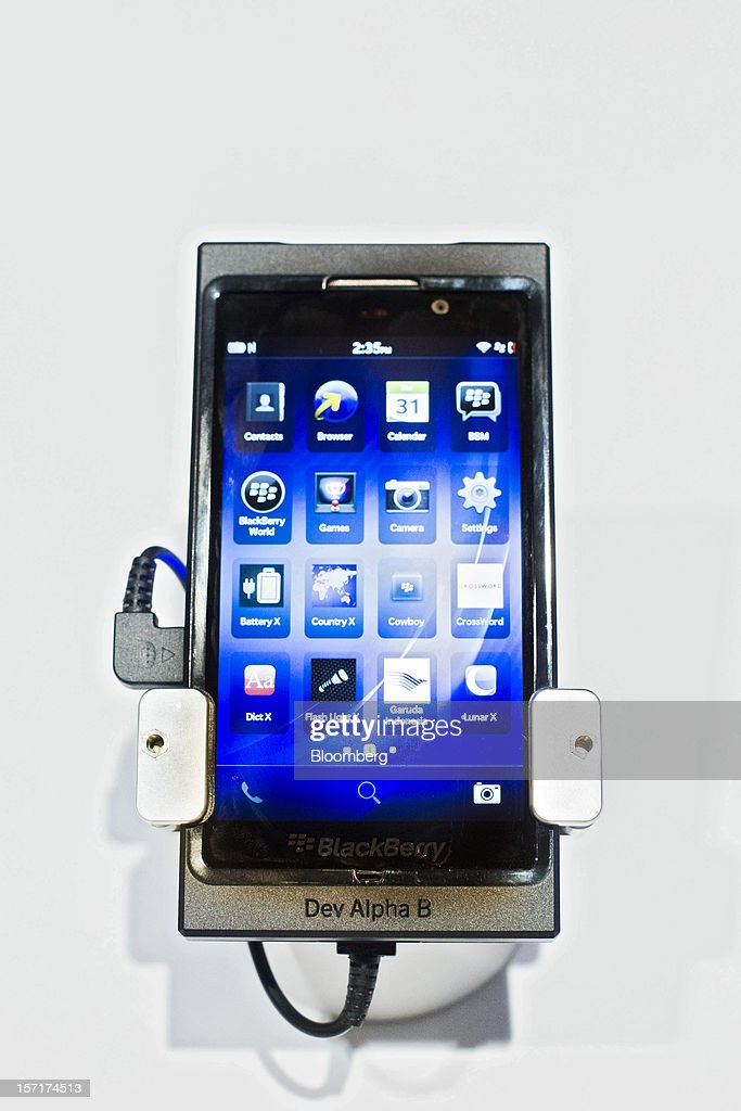 A Research In Motion Ltd. (RIM) BlackBerry 10 smartphone 'Dev Alpha B' prototype is displayed at the BlackBerry Jam Asia developer conference in Bangkok, Thailand, on Thursday, Nov. 29, 2012. RIM gained after Goldman Sachs Group Inc. upgraded the stock to buy, saying the new BlackBerry 10 phones could help it return to profitability in fiscal 2014. Photographer: Brent Lewin/Bloomberg via Getty Images