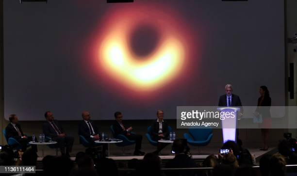 Research, Science and Innovation Commissioner Carlos Moedas holds a news conference on unveiling of first ever image of a black hole taken by Event...