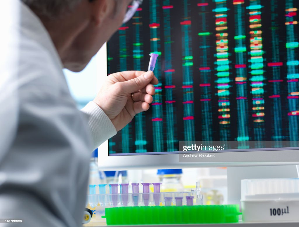 DNA Research, Scientist holding up a DNA sample with results on the computer screen : Stock Photo