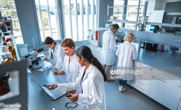 investigador con colega en laboratorio - grupo mediano de personas fotografías e imágenes de stock
