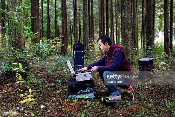 researcher monitors the forest with a solar powered field laboratory - tdub_video stock pictures, royalty-free photos & images
