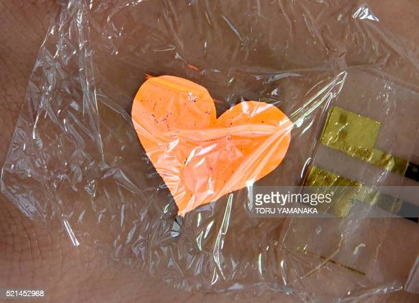 Researcher of Tokyo University displays a heart-shaped flexible, ultra-thin organic LED developed recently during a press conference in Tokyo on...