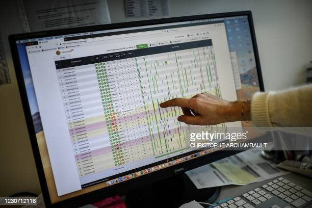 Researcher points at a computer screen displaying partial results of the genome sequencing of the SARS-CoV-2 virus and its variants at the Centre...