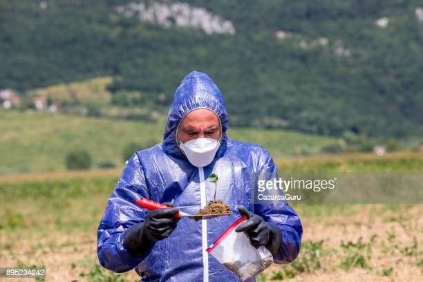 Researcher Taking Dirt Sample on a Field