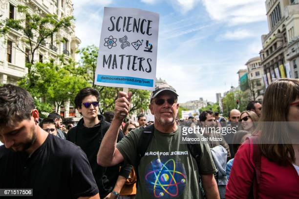 Researchers and scientist protesting against budget cuts in science during the March for Science