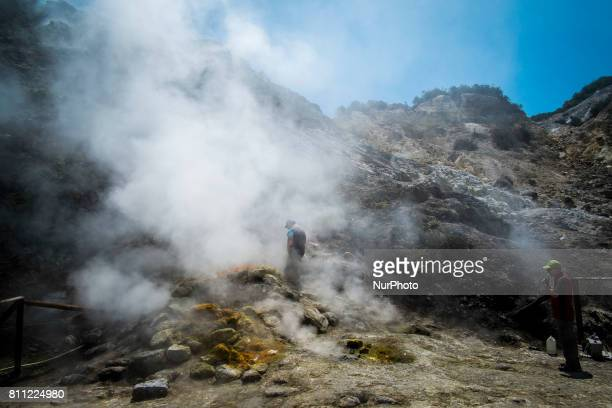 researchers make monthly measurements near the Bocca Grande in Pozzuoli Italy on July 09 2017 The Solfatara of Pozzuoli is one of the most...