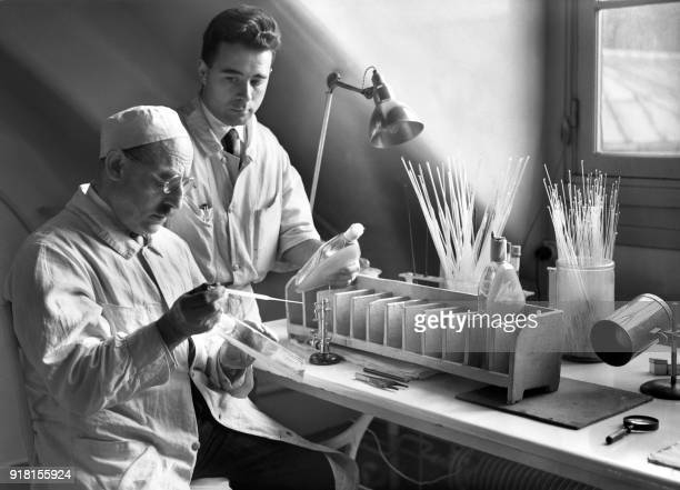 Researchers work in the meningitis research laboratory of the Pasteur Institute in November 1938 in Paris The Pasteur Institute was inaugurated 14...