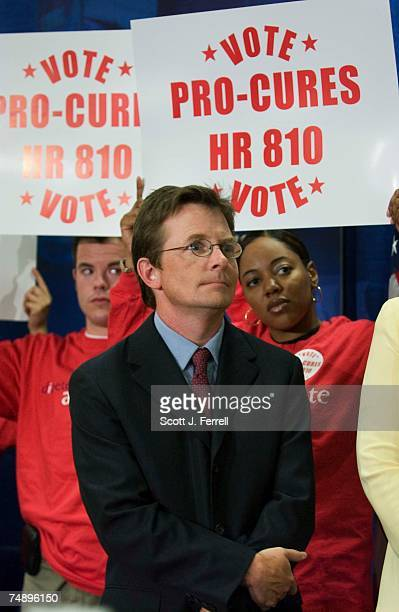 Michael J. Fox, actor and founder of the Michael J. Fox Foundation for Parkinson's Research, during a news conference/rally urging a vote on the...