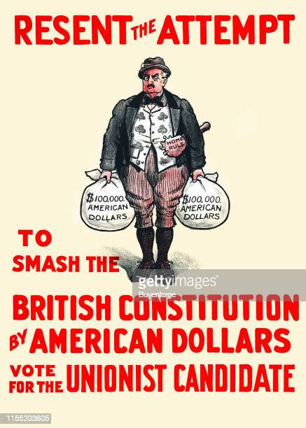 Resent the Attempt to Smash the British Constitution by American Dollars Lithograph in black and red ink on white paper showing a caricature of John...