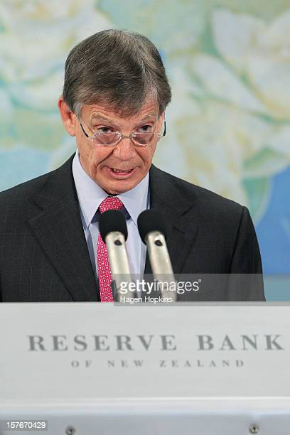 Reserve Bank Governor Graeme Wheeler speaks during his first cash rate announcement at the Reserve Bank on December 6 2012 in Wellington New Zealand...