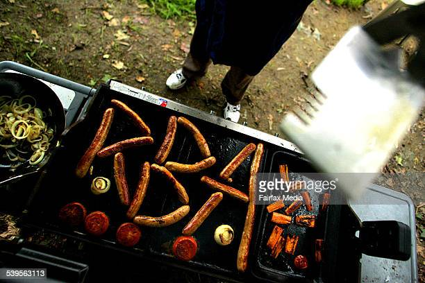 A Reserve Bank of Australia barbeque with the letters RBA spelt out in sausages on a barbie on 13 February 2005 AFR GENERIC Picture by ROB HOMER