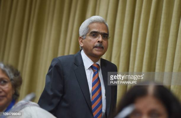 Reserve Bank of India Governor Shaktikanta Das arrives to address a news conference in Mumbai on February 7 2019 India's central bank cut interest...