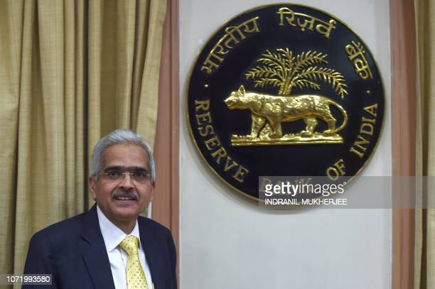 Reserve Bank of India Governor Shaktikanta Das arrives to talk at a media conference after taking charge at the bank's head office in Mumbai on...