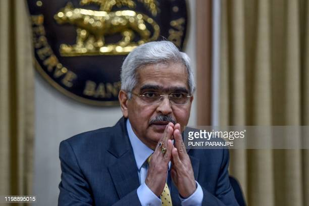 Reserve Bank of India Governor Shaktikanta Das gestures as he speaks during a press conference at the RBI head office in Mumbai on February 6 2020