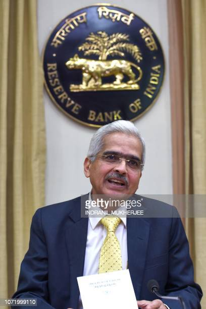 Reserve Bank of India Governor Shaktikanta Das speaks to the media after taking charge at the bank's head office in Mumbai on December 12 2018...
