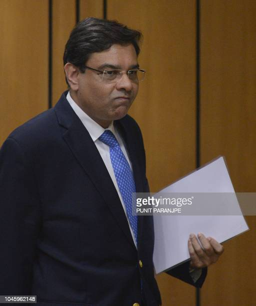Reserve Bank of India Governor Urjit Patel arrives to address a news conference at the bank's head office in Mumbai on October 5 2018 India's rupee...