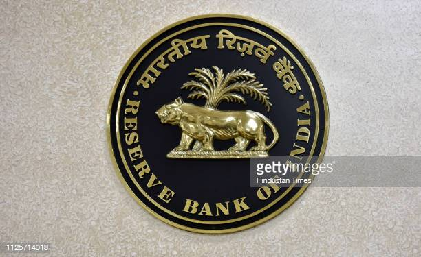 Reserve Bank of India logo is seen at its office on February 18 2019 in New Delhi India