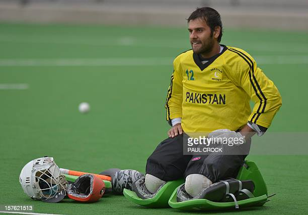 Reserve goal keeper Imran Butt of Pakistan takes a break during a practice session at the Men's Hockey Champions Trophy in Melbourne on December 5...
