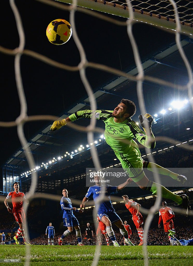 Reserve goalkeeper Paulo Gazzaniga of Southampton can't stop a header from John Terry of Chelsea (out of shot) crossing the line during the Barclays Premiership match between Chelsea and Southampton at Stamford Bridge on December 1, 2013 in London, England.
