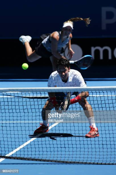 Reserve player Maddie Inglis of Japan serves to Tennis legend Pat Cash of the United States in the mixed doubles match against Yuichi Sugita and on...